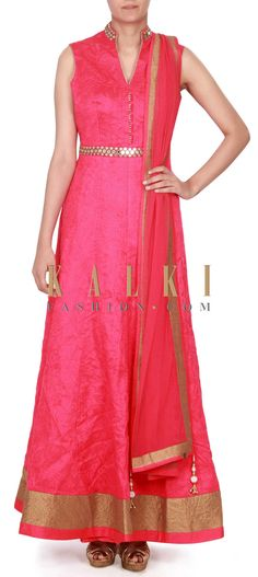 Buy this  Rani pink anarkali suit adorn in thread and mirror work only on Kalki