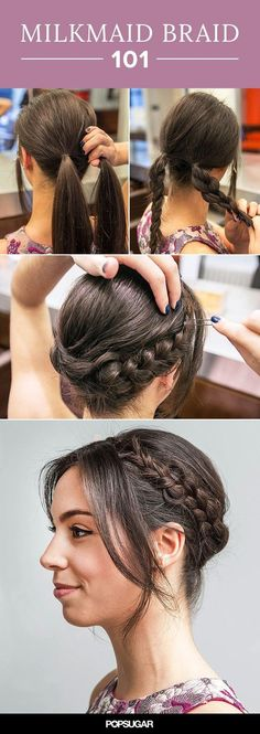 How to Get the Milkmaid Braid Right Off the Golden Globes Red Carpet If you can create a simple braid, you can do this! This easy milkmaid braid tutorial would look chic at any event. Try this hairstyle for your next wedding, cocktail party, or barbecue! New Braided Hairstyles, Trendy Hairstyles, Girl Hairstyles, Wedding Hairstyles, Updo Hairstyle, Easy Hairstyles For Work, School Hairstyles, Beautiful Hairstyles, School Hairdos