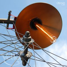 Cool Bicycle Wheel and Parts Recycled into Steampunk Bike Lamp  #Handmade…