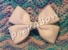 White and Silver Basic Bow  shiny by PeekABowBows on Etsy, $3.00