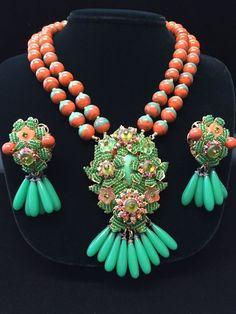"Vintage, Ornate Signed: Stanley Hagler Drippy ""Art Glass"" Massive Necklace Demi #STANLEYHAGLERNYC"