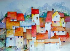 Red Roofs, Watercolor painting by Malcolm Coils