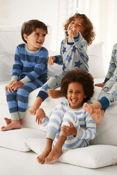 Next Blue and Grey Stripe Snuggle Fit Pyjamas Two Pack