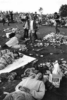 Woodstock revellers sleeping on the ground