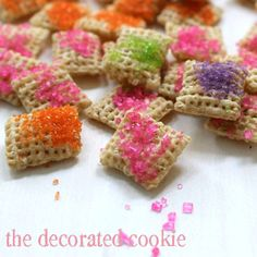 colored chex mix. cute!