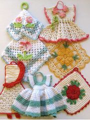 vintage crochet potholders does anyone have this pattern and whish to share pleaseVintage Crochet Patterns - Love crochet potholders especially the little dresses.Premium Vintage Potholders pattern by Maggie WeldonHang in kitchen: Collecting Vintage Crochet Kitchen, Crochet Home, Crochet Crafts, Crochet Projects, Knit Crochet, Crochet Geek, Crochet Dolls, Crochet Ideas, Vintage Potholders