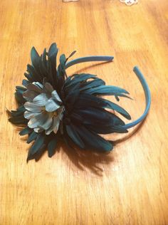 Fall Headband: Blue w/ Large Blue Flower - Ruff Creek Crafts