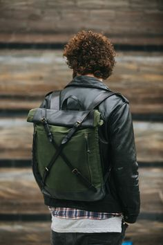 Waxed canvas and leather backpack Roll top by KrukGarageAtelier