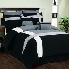 DR International Toxanna Hotel 8-Piece Comforter Set in Black/Gray