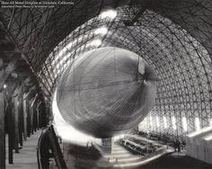 Captain Thomas Benton Slate's metal dirigible at Glendale, CA, Associated Press photo, 1928