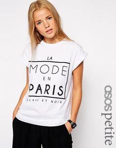 ASOS PETITE Exclusive T-Shirt With La Mode En Paris Print