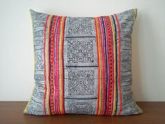 "18""x 18"" Bright Vintage Hmong Pillow Cover, Hill Tribe Old Cotton Batik Pillow Case, Boho Throw Pillow, Ethnic Costume Textile Cushion Cover"