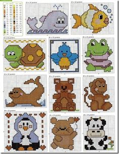 animais do mar bebes ponto cruz cross stitch