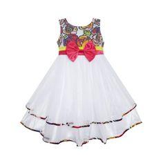 Sunny Fashion Girls Dress Bohemian Print Tulle Tiered Layer White Wedding Size 2-10 #bohemianweddings