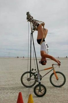 Bicycle girl upside down