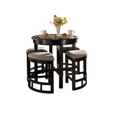 Perfect for smaller kitchens, dining areas or game rooms, this round counter-height table promises to be quite the conversation piece. The accompanying wedge...