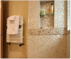 Stunning Rous Shower Wall Using Cream 1 X1 Mother Of Pearl Shell Tile