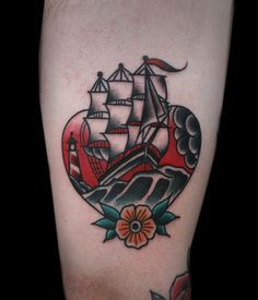 Ship tattoo by Saschi McCormack #InkedMagazine #shop #heart #tattoo #tattoos #Inked #ink #traditional