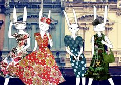 Rabbit ladies A4 print by lukaluka on Etsy, $15.00