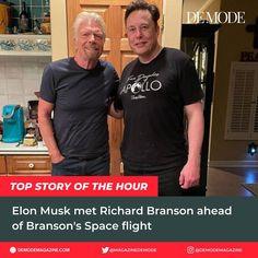 "DE MODE on Instagram: ""World's 2nd-richest person Elon Musk met Billionaire Richard Branson ahead of the Virgin Group's billionaire Founder's scheduled flight to…"" Richard Branson, Elon Musk, Billionaire, Mens Tops, Instagram, Fashion, Moda, Fashion Styles, Fashion Illustrations"
