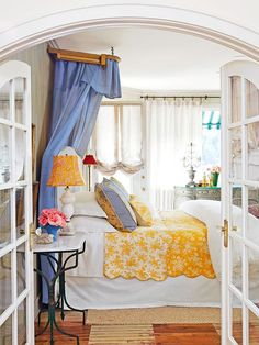 Guest Bedroom - I dream of a bedroom that is a window to the Old World, with fabrics and textures reminiscent of the French countryside, and canopy that speaks of grandeur and class. Bedroom Retreat, Dream Bedroom, Home Bedroom, Bedroom Decor, Pretty Bedroom, Bedroom Ideas, Shabby Bedroom, Shabby Cottage, Bedroom Colors