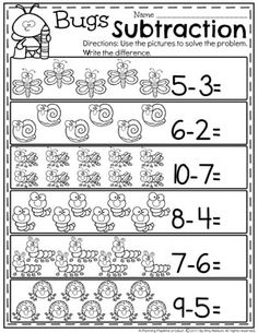 Kindergarten Math Worksheets - Bug Subtraction Under 10 Do you need fun Subtraction Worksheets and hands-on Subtraction Centers? You are going to LOVE this awesome kindergarten math unit! Writing Practice Worksheets, Subtraction Worksheets, Kindergarten Math Worksheets, Preschool Math, Teaching Math, In Kindergarten, Math Activities, Subtraction Kindergarten, Niklas