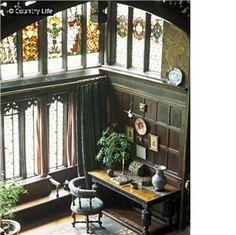 View from the gallery into the Great Parlours bay window at Wightwick Manor.