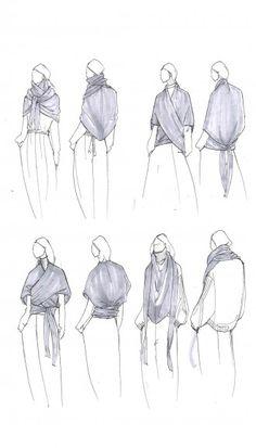 Fashion Sketchbook - fashion illustrations for knitted convertible shawl; creative process; fashion portfolio // Tibi