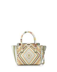 VALENTINO Rockstud 1975 Micro Mini Shopper Bag, Green Multi. #valentino #bags #shoulder bags #hand bags