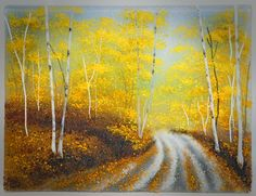 """""""Aspen Road"""" Glass Frit Painting by Diane Quarles"""