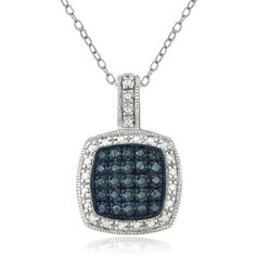 DB Designs Sterling Silver 1/4ct TDW Blue Diamond Necklace ($59) ❤ liked on Polyvore featuring jewelry, necklaces, white, diamond necklace, round diamond necklace, long necklaces, long sterling silver necklace and blue diamond necklace