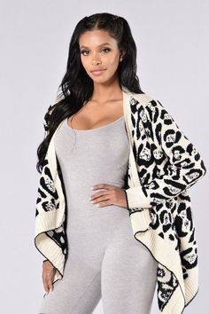 - Available in Black and White - Lion Print Sweater Cardigan - Open Front - Thick Knit - Long Sleeve - Hi-Low - 65% Acrylic 35% Polyester