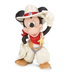Disney Cowboy Rodeo Mickey Mouse Fine China Figurine by Lenox 843562 Western New