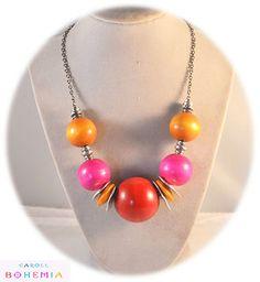 Collier en perles de Bois légères - en vente dans la boutique : caroll-bohemia.alittlemarket.com