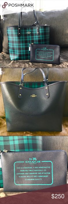 Coach Reversible Plaid Tote Reversible Leather Plaid Tote by Coach. Comes with a large pouch.  The bag is Navy on one side and mult colored Plaid on the other side. Coach Bags Totes