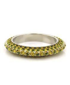 Yellow & Olive Crystal Pascal Bangle
