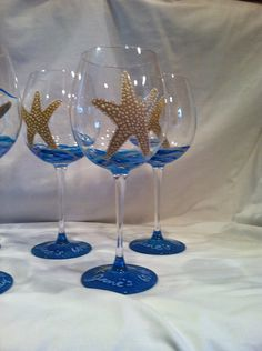 Starfish painted wine glass by neatstuf on Etsy, $20.00