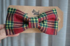 Red and Green Plaid Flannel Pet Bow Tie for dogs by GymboHannah, $12.00