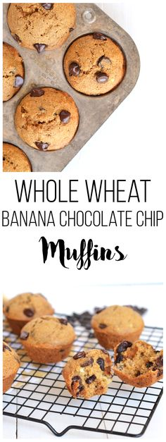Whole Wheat Banana Chocolate Chip Muffins are refined sugar free, easy ...