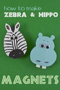 Zoo Crafts: Clothespin Hippo and Zebra Magnets by Amanda Formaro of Crafts by Am Hippo Crafts, Safari Crafts, Jungle Crafts, Zoo Crafts, Animal Crafts For Kids, Crafts For Kids To Make, Camping Crafts, Toddler Crafts, Preschool Crafts