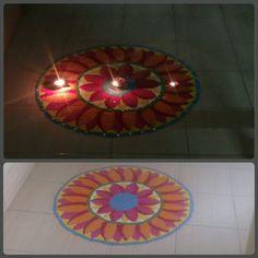 Diwali rangoli with beautiful colour combination