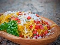Microwave Spaghetti Squash with Tomatoes