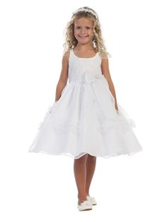 awesome TT5525 Lace Bodice with Satin Tab Strap Flower Girl Dress