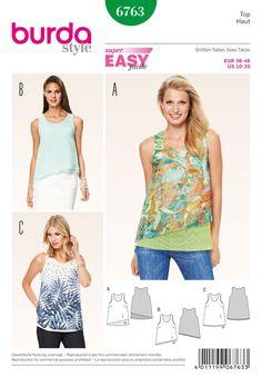 Burda B6763 Tops, Shirts, Blouses Sewing Pattern