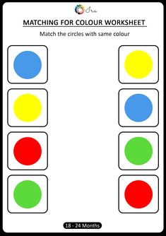 Check out this matching for colours worksheet for your month). This has been designed keeping in mind age-appropriateness and understanding of the child at this stage. Therefore we have first introduced with the 4 basic colours. Color Worksheets For Preschool, Number Worksheets Kindergarten, Preschool Colors, Free Preschool, Preschool Printables, Color Activities, Worksheets For Kids, Matching Worksheets, Math Literacy