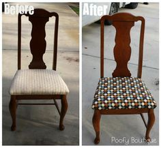 {re-do the free dining chairs we got} Poofy Cheeks: How to Reupholster Chair Seats. Furniture Projects, Furniture Makeover, Home Projects, Home Furniture, Home Crafts, Diy Home Decor, Chair Redo, Shabby, Interiores Design