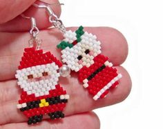 Beaded Santa Claus and Mrs Claus Earrings, Christmas Earrings, Sterling Silver, Brick Stitch Beading