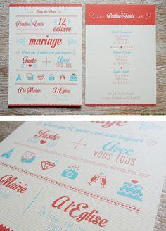 Faire-part Sweety Trendy - Haut De Forme Studio Wedding Paper, Wedding Cards, Diy Wedding, Invitation Design, Invitation Cards, Wedding Stationary, Wedding Invitations, Wedding Graphics, Wedding Prints