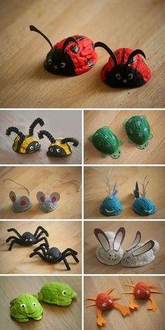 Walnut shells: ideas for for children's creativity / Щёлкаем ореш #childrens #Creativity #Ideas #Shells #Walnut #ореш #Щёлкаем