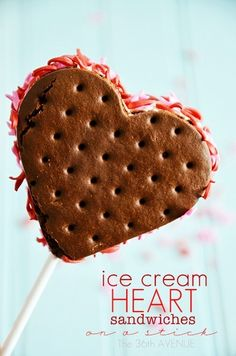 Valentine Heart Ice Cream Sandwiches - just use a heart cookie cutter, a store bought ice cream sandwich, and sprinkles